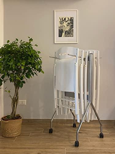 VOLERO' Shopping Online, Carrello Porta Sedie Pieghevoli, Modello Pirro, Struttura in Acciaio Color Argento, capacità 8 Sedie, 4 Ruote con Freno.