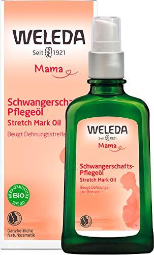 WELEDA Mama Schwangerschafts-Pflegeöl - Naturkosmetik Massage Schwangerschaftsöl zur Vorbeugung von Schwangerschaftsstreifen / Dehnungsstreifen am Bauch, Oberschenkel und Brust (1 x 100ml)