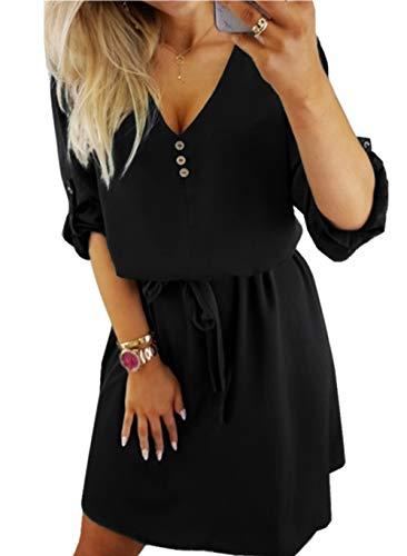 ZIYYOOHY Damen Casual Blusenkleid Chiffon Button V-Ausschnitt 3/4 Ärmel Freizeit Mini Sommerkleid Mit Gürtel (Schwarz, XL)