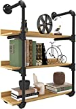 YITAHOME Industrial Pipe Floating Shelves Wall Mounted Bookshelf Industrial, 80x25x88cm,3 Tiers Bookcase,Open Metal and Wooden Wall Storage Shelf for Kitchen,Bathroom,Bedroom,Living Room