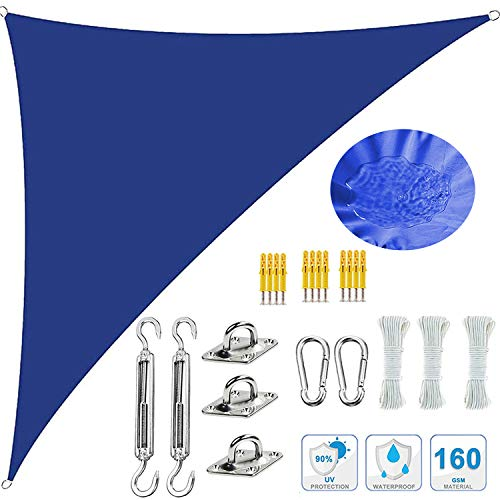 HERAHQ Kit de parasoles triangulares, tela impermeable, pantalla de tela de 95% bloqueador solar, toldo de jardín, playa, patio, toldo para exteriores, patio, fiesta, azul oscuro, 3,6 x 3,6 x 3,6 m