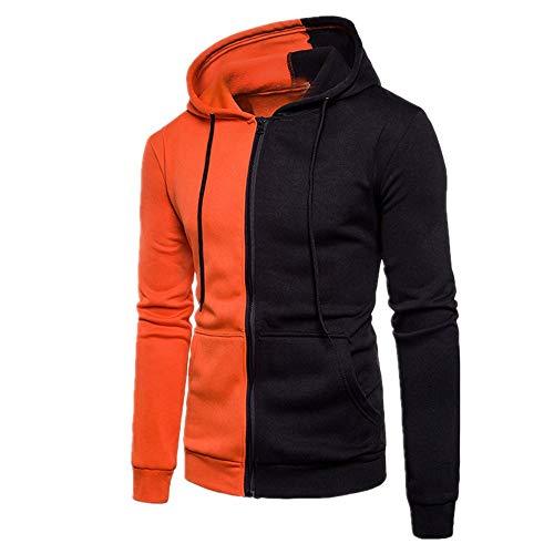 ZY Glaa Mens Cotton Padded Fleece Lined Full Zip Up Hoodie Sweatshirt Jacket Mens Long Sleeve Fleece Zip Up Hoody Sweatshirts with Kangaroo Pockets Patchwork Hoodie Orange