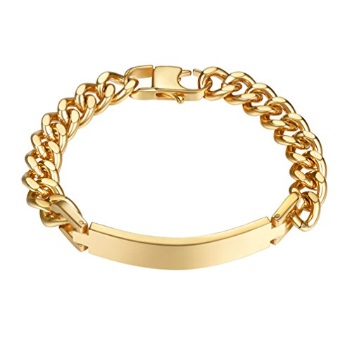 PROSTEEL Custom Name ID Bracelet 18K Gold Plated Stainless Steel Cuban Chain Gift Women Personalized...