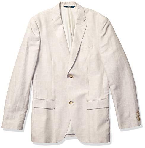 Perry Ellis Big & Tall Suit Jacket Men's Tall, Natural Linen Herringbone, 48 Long (Big)