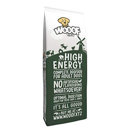 WOOOF High Energy | kaltgepresstes Hundefutter mit hohem Energieanteil | 14kg | Hundefutter mit Rind | natürliche Zutaten | hoher Fleischanteil | leicht verdaulich | Trockenfutter ohne Weizengluten
