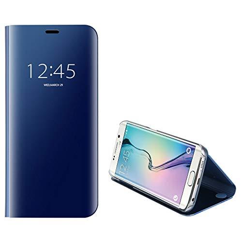 Funda para Samsung Galaxy S6 Edge, Anfire Piel Carcasa de Espejo Transparente Flip Inteligente Case Soporte Plegable Auto Sueño / Estela 360 Protección Cuero Caso Lujoso Cover Smart Bumper Tapa - Azul