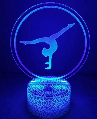 Ilusión óptica 3D Gimnasia Luz de Noche 7 Colores que Cambian USB Poder Touch Switch Decor Lámpara LED Mesa Lámpara Niños Juguetes Cumpleaños Navidad Regalo