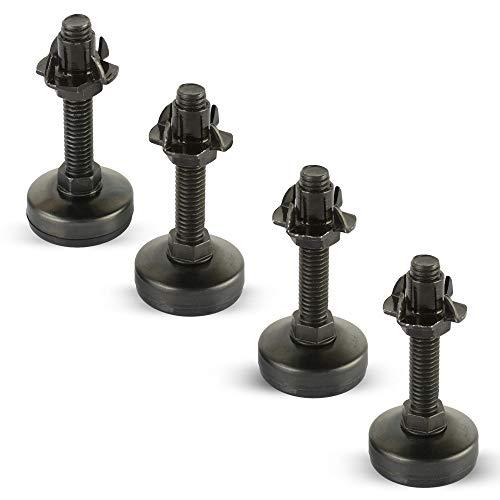 Black Furniture Leveler Kit (Black Zinc 4 Prong Tnut) Set of 4-3/8-16 Non-Skid Leg Levelers with T-Nuts and Jam Nuts