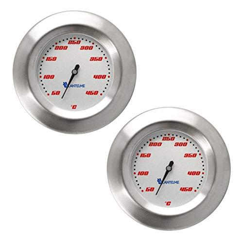 Lantelme Grill Einbau Thermometer 2 Stück Set für Deckel oder Haube aus Edelstahl 450 °C auch Smoker BBQ analog 5148