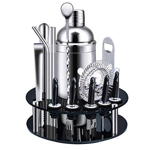 Cocktail Shaker Set Bartender Kit - 25 oz Polished Stainless Steel Drink Shaker, with All Bar Accessories, Cocktail Strainer, Jigger, Bar Spoon, 2 Pour Spouts, Muddler, Cocktail Recipe (black)
