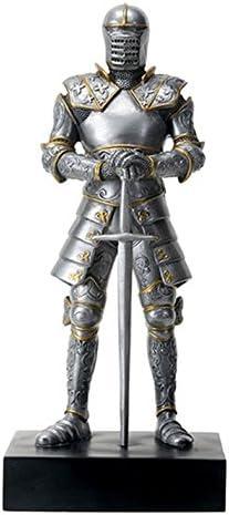YTC Silver Colored Italian Knight Design Standing Statue in Full