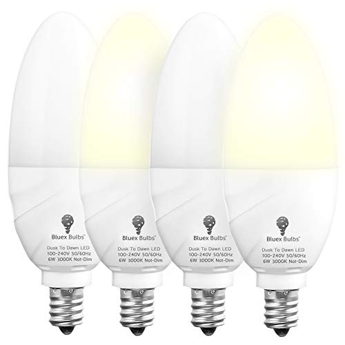 4 Pack Bluex Dusk to Dawn LED Bulbs, 6W E12 Base Light Bulb - 65W Equivalent – 3000K WarmLight White - Smart Light Sensor Candelabra Bulb, Home Security Indoor, Outdoor, Driveway, Yard, Porch Lighting