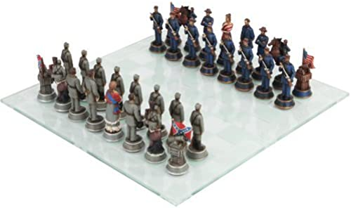 Civil War Solider Themed Chess Set with Glass Board, MultiFarbe by PTC