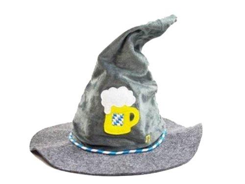 Seppelhut Oktoberfest bayern Hut blau weiß Trachtenhut mit Musik