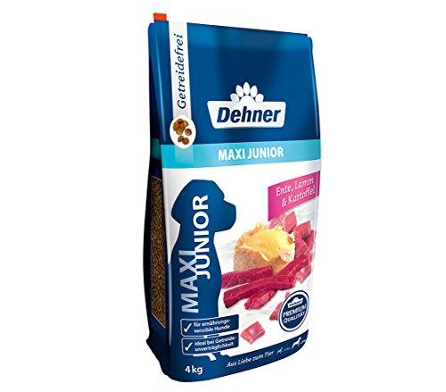 Dehner Premium Hundetrockenfutter Maxi Junior, Ente und Lamm mit Kartoffel, 4 kg