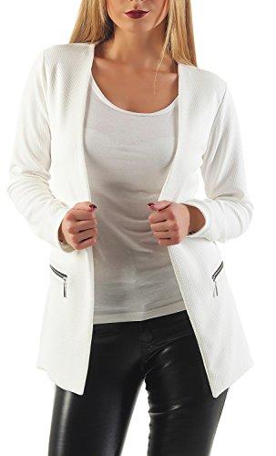 Damen lang Blazer mit Taschen (501), Farbe:Weiß, Blazer 1:36 / S