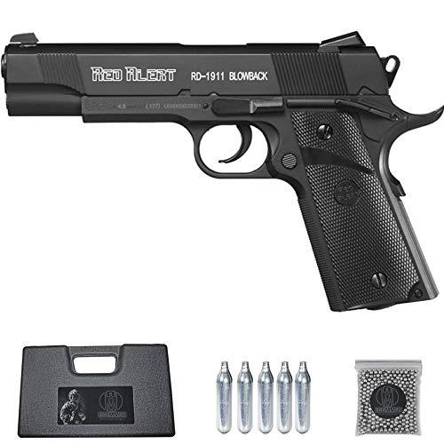 Ecommur. Red Alert RD 1911 gamo blowback | Pistola de perdigones (Bolas BB's de Acero) de Aire comprimido semiautomática Tipo Colt 1911 Cal. 4,5mm + maletín + balines y CO2