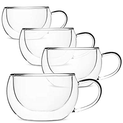 BTaT- Insulated Coffee Cups, Set of 4 (9 oz, 270 ml), Double Wall Glass Tea Cups, Glass Cups, Glass Mug, Glass Coffee Cups, Latte Cups, Latte Mug, Clear Mugs, Glass Cappuccino Cups, Glass Coffee Mugs
