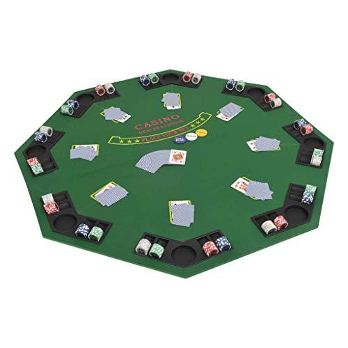 binzhoueushopping Mesa de Poker Plegable para 8Jugadores 2Pliegues Octogonal Mesa de póquer multifunción Verde para Que Cada Jugador AIT sa Limpio Plaza