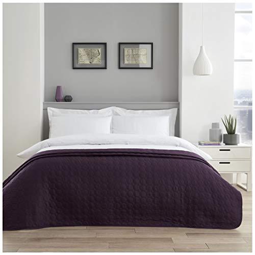 GC GAVENO CAVAILIA Hochwertige Pinsonic Tagesdecke, leicht zu pflegen, luxuriös, gesteppt, Schlafcouch, Pflaumen-Kreise, Doppelbett-Größe (150 x 200 cm), Polyester, Double