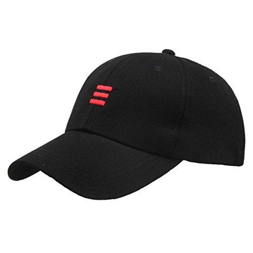 Kappe Baseball Cap Unisex Hüte Hip-Hop Verstellbare Baseballmütze Sunday (Schwarz)