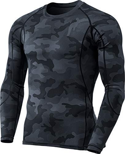 TSLA Herren Cool Dry Fit Langarm-Kompressionshemden, Athletic Workout Shirt, Active Sports Base Layer T-Shirt, Mud31 1pack - Woodland Black, XL