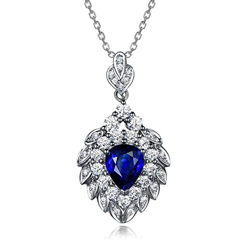 Bishilin White Gold Necklace with Pendant Blue Sapphire Heart Flower Leaf...