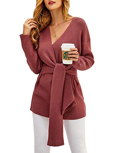 ❤ Material: It's made of high quality Polyester and Spandex. The fabric is soft, warm and skin friendly. Please no worry to wear close to your skin. ❤ Feature: baggy tunic sweater, with tie knot design on the front, ladies knitted sweater, slouchy, c...