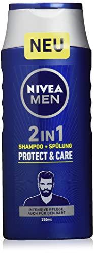 Nivea Men 2in1 Shampoo + Spülung Protect & Care im 6er Pack (6 x 250 ml), auch als Bartshampoo geeignet, pflegendes Haarshampoo mit Aloe Vera und Milchproteinen