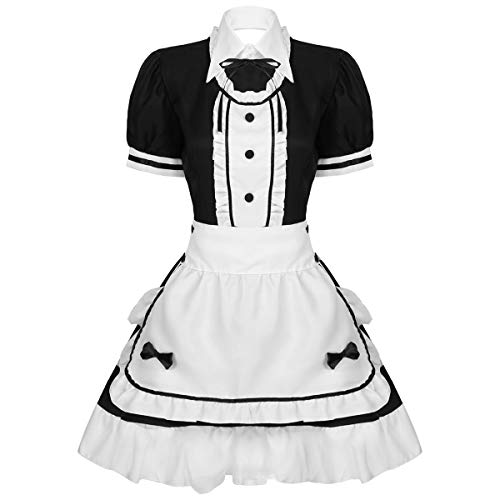 Agoky Mujeres Hallowen Disfraz Criada Francesa Cosplay French Maid Vestido Anime Cosplay Sissy French Maid Disfraces Conjunto de Ropa Negro XL
