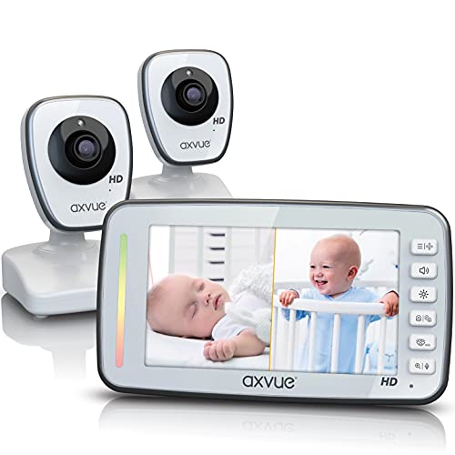 """[HD] Video Baby Monitor, 720P 5"""" HD Display, IPS Screen, 2 HD Cams, 12-Hour Battery Life, 1000ft Range, 2-Way Communication, Secure Privacy Wireless Technology"""