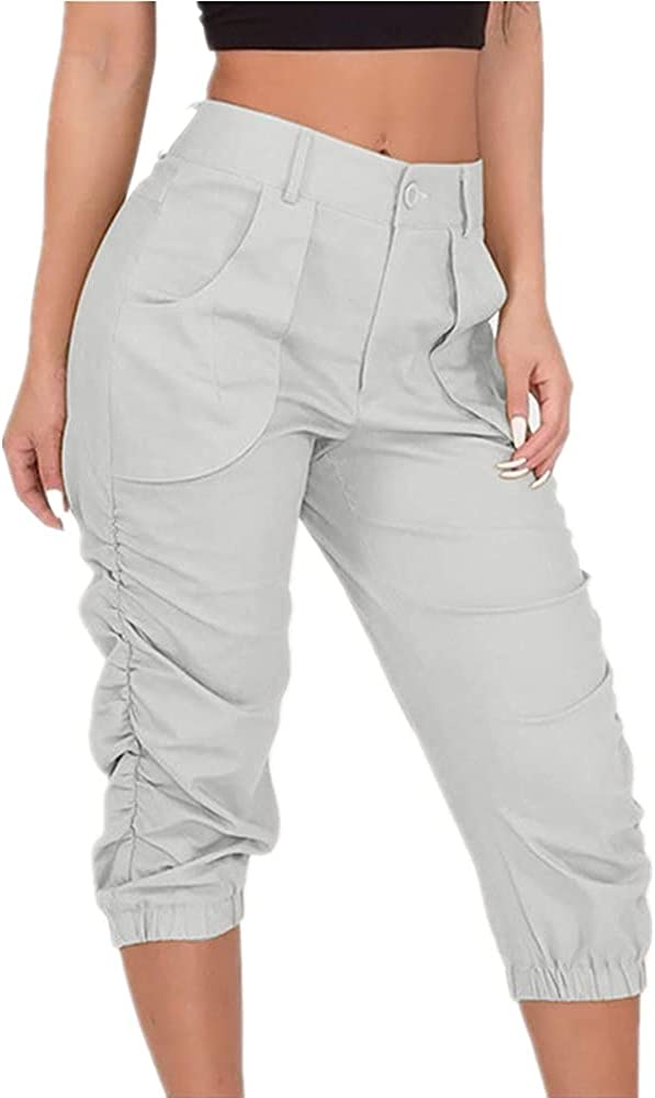 Summer Women's Pants Casual Cropped Trousers Harem Beam Foot Fitness
