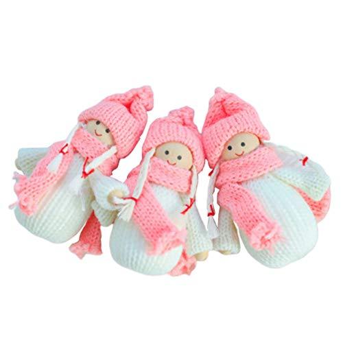 Vosarea pendenti per bambole in legno decorazioni natalizie appese albero di natale ornamento per ufficio festa a casa 3 pezzi (rosa)