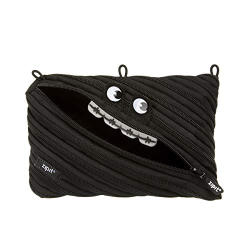 ZIPIT Gorge 3-Ring Binder Pencil Pouch, Large Capacity Pen Case for Binders, Holds up to 60 Pens, Made of One Long Zipper! (Black)