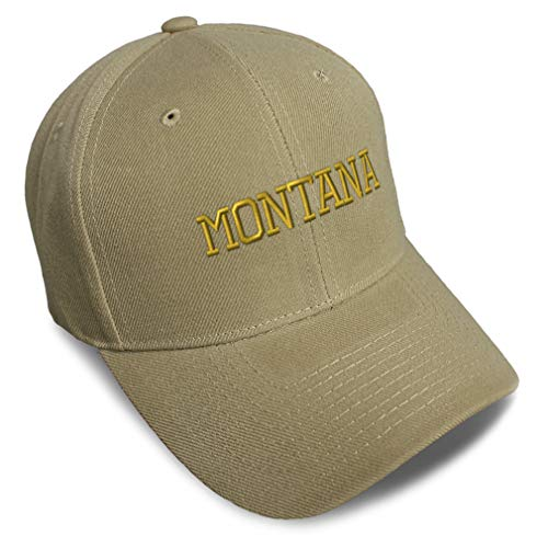 Speedy Pros Baseball Cap Montana State USA America Embroidery Acrylic Dad Hats for Men & Women Strap Closure Khaki Design Only
