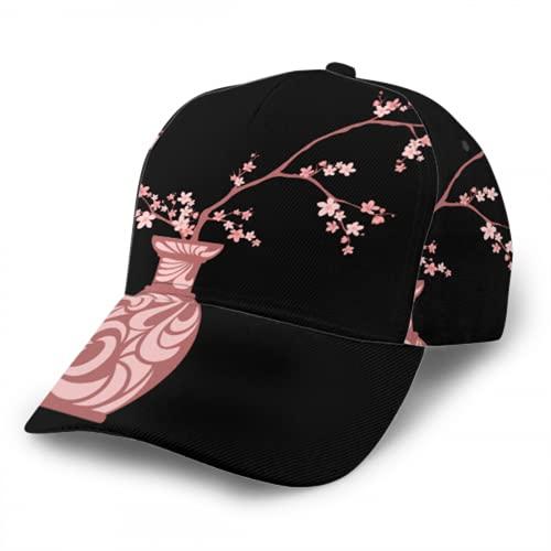 Gorra de béisbol con ramas florecientes de Sakura Jarrón japonés tradicional Moda para hombres y mujeres Cómodo sombrero de camionero con borde curvo para correr, andar en bicicleta, pescar, tenis, g