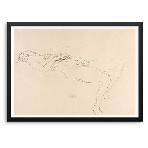 Gustav Klimt Line Drawing Wall Poster Reclining Nude Art Print 11x14 UNFRAMED Reproduction Artwork Home Decor for Bedroom Living Room Bathroom or Entryway (RECLINING NUDE 2)
