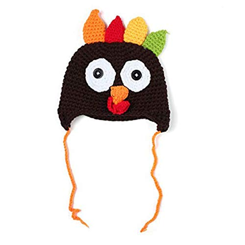 Thanksgiving Turkey Beanie Hat Cap Cute Cartoon Animal Winter Knit Beanie with Ear Flap Photograph Props for Baby Toddlers Brown