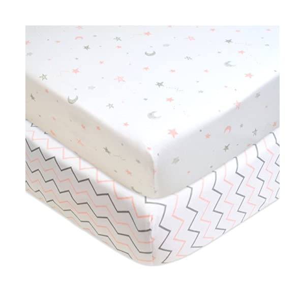 American Baby Company 2 Pack Printed 100% Cotton Jersey Knit Fitted Crib Sheet for Standard Crib and Toddler Mattresses, Pink Stars/Zigzag, for Girls