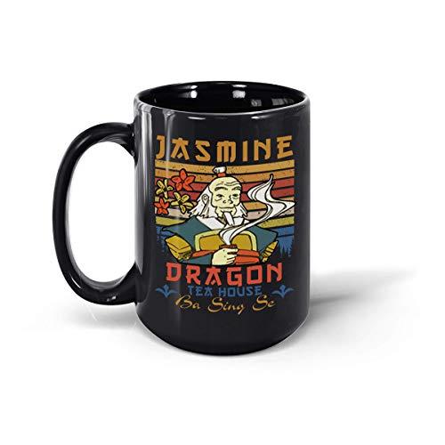 Taza de café de cerámica con diseño de dragón de jazmín de Uncle Iroh (negro, 15 onzas)