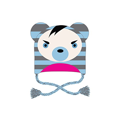 Bonnet Animal Tête d'Ours Rayé Ciel & Gris Freaks and Friends