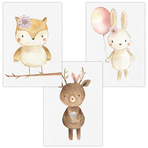 Wandbilder 3er Set für Baby & Kinderzimmer Deko Poster Eule Reh Hase | Kunstdruck DIN A4 ohne Rahmen und Dekoration (Eule, Reh, Hase, Luftballon/Mädchen)