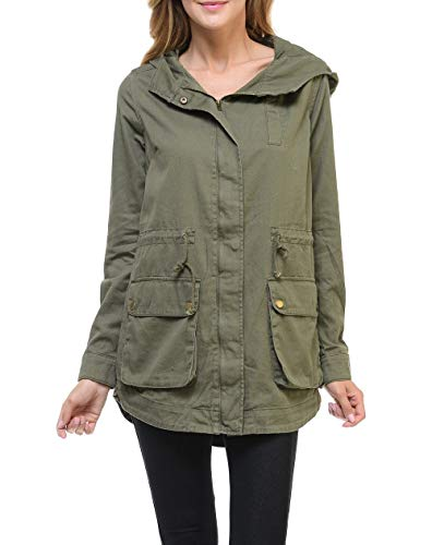Women's Premium Vintage Wash Lightweight Military Fashion Twill Hoodie Jacket LUSJ Olive Large