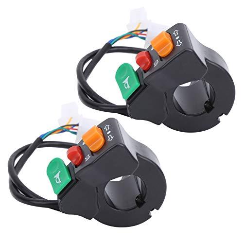 Dilwe Interruptor 3 en 1, Interruptor para Scooter eléctrico de 2 Piezas, Luces direccionales 3 en 1 e interruptores de bocina Apto para manillares de 22 mm / 0,9 Pulgadas de diámetro