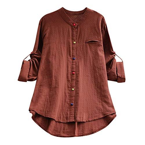 Andouy Damen Hemd Top Kariertes Langarm Leinen Plus Size Gr.38-46 Tunika Knopf Lose Bluse Übergroß(2XL(46).Kaffee-Knopf