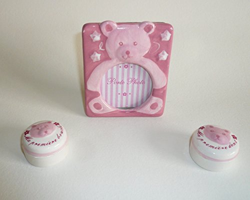 Ensemble naissance 3 pièces : Boîte à dent + Boîte Boucle + Porte photo (Ours Rose)