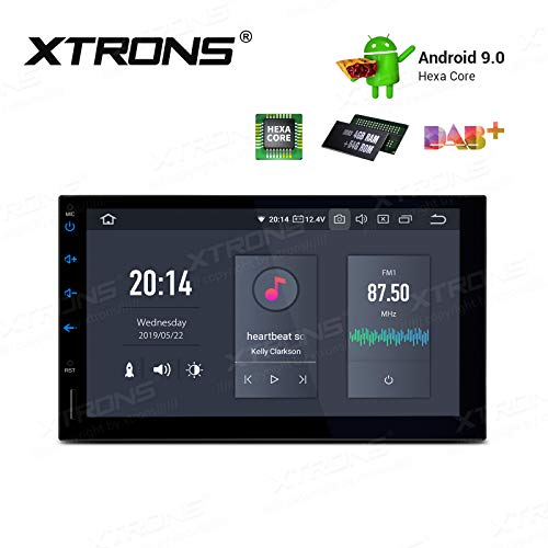 XTRONS Android 9.0 Universal Double Din Car Stereo Radio Player 4G RAM 64G ROM Hexa Core 7 Inch Touch Screen GPS Navigation in-Dash Head Unit Supports Car Auto Play HDMI USB SD WiFi DVR OBD2 TPMS