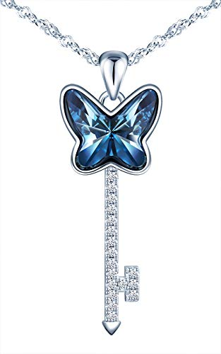 MICSAVI Collares de plata de ley 925 para mujer, collar con forma de llave colgante de mariposa con...