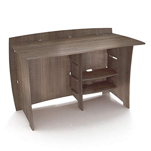 Legaré Furniture Straight Office Desk, Home Computer Desk, No Tool Assembly with Adjustable Shelves, Grey Driftwood