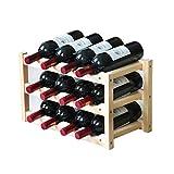 Estante para botellas de vino Estante para vino de pie, soporte de madera con tres estantes para 12, soporte para botellas de vino hecho de madera de pino para almacenamiento de vino Mueble vinoteca m